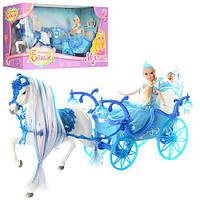 Карета 225A (6шт) 52cм,лошадь с крыльями(ходит), кукла, 28см,свет,звук,на бат-ке,в кор-ке,56-19-30см