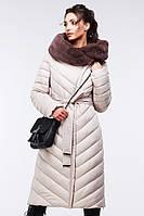 Длинное стеганое пальто с воротником из эко-мутона Фелиция 2