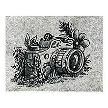 Фетр з принтом ФОТОАПАРАТ 2, 33x25 см, китайський жорсткий 2 мм
