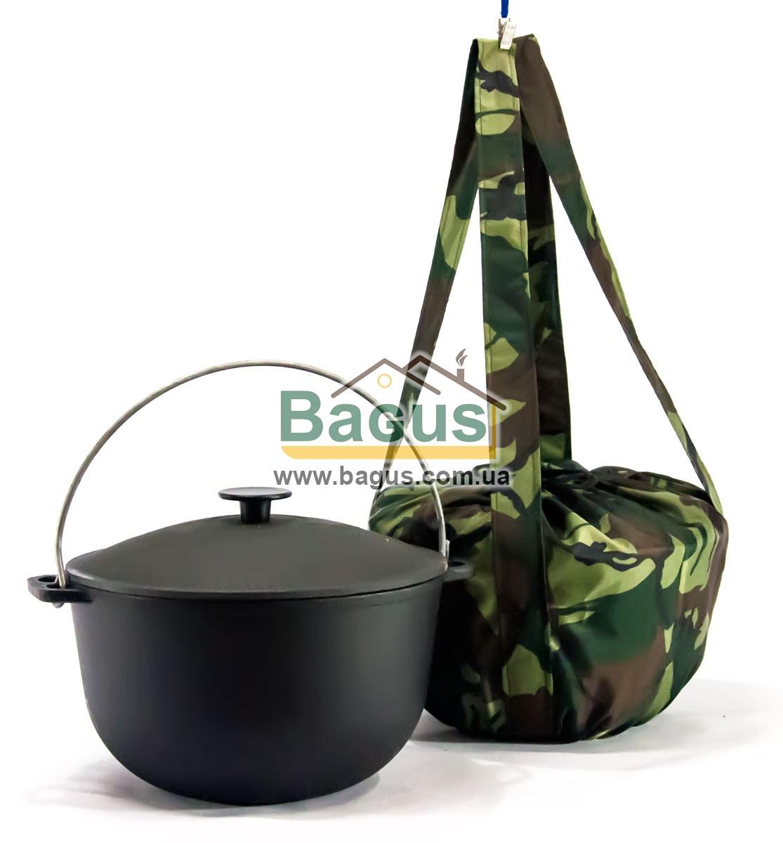 Казан чавунний туристичний 6л 26см з чавунною кришкою, дужкою і чохлом, посуд чавунна Біол (0706ЧК-1)
