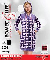 """Женский велюровый халат """"Romeo&Lifе"""" с капюшоном,Турция"""