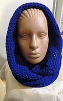 Женский снуд вязанный синий