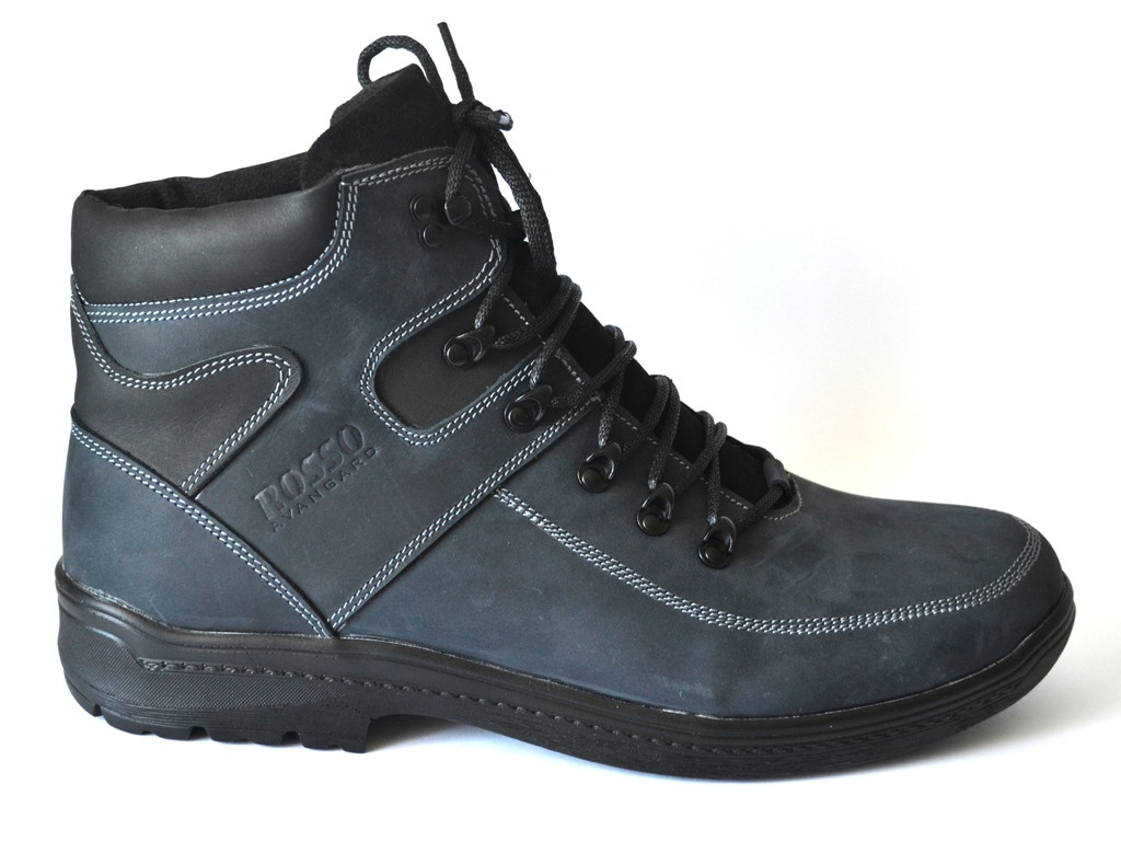 Большие размеры синие зимние мужские рабочие ботинки Rosso Avangard BS Major Payne Sport Blu кожаные