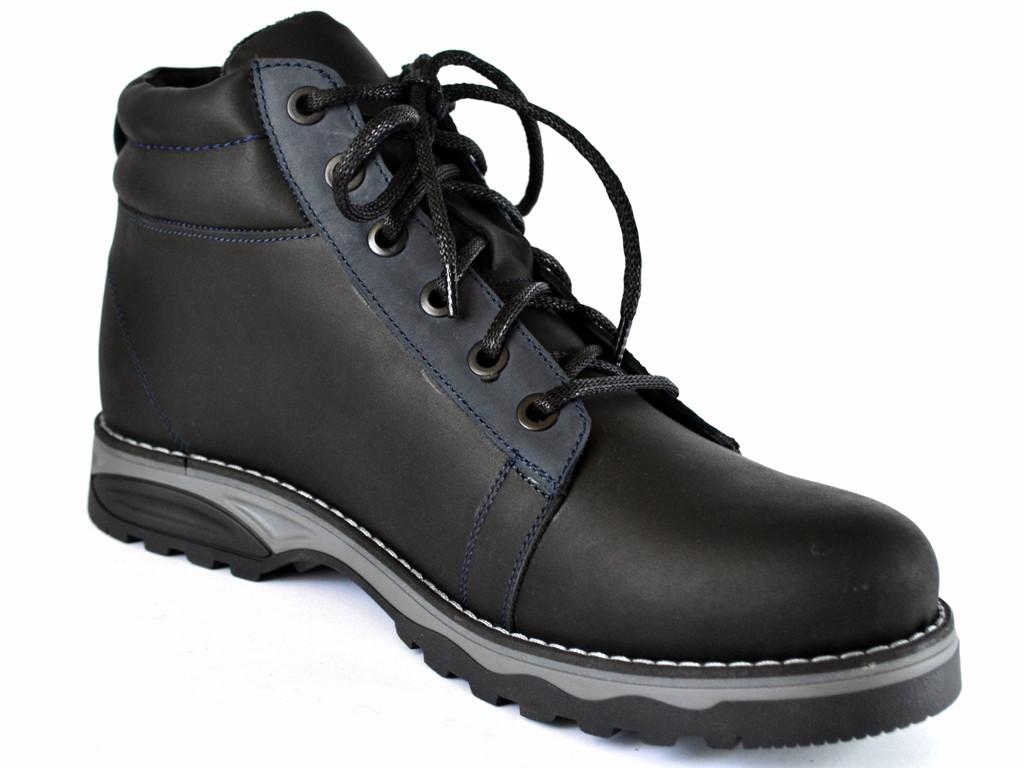 Зимние кроссовки мужские с мехом кожаные Rosso Avangard Bridge SE Trend Black черные