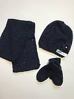 Детский вязаный набор на флисе шапка, шарф, варежки, Lupilu на девочку 4-8 лет