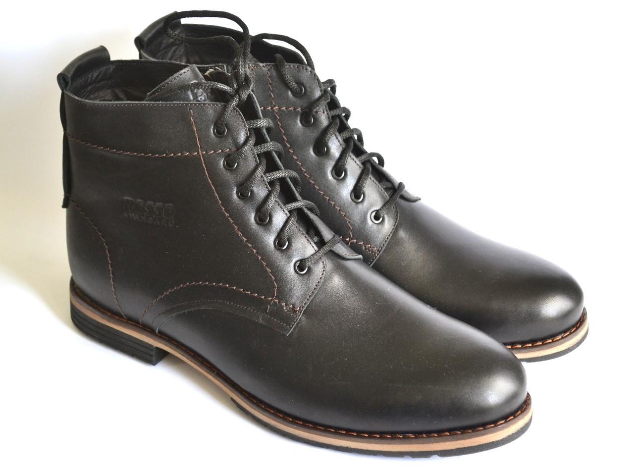 Большой размер кожаные зимние мужские ботинки Rosso Avangard. Falconi rhombus BS черные