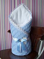 Вязаный зимний конверт - плед для новорожденных, фото 1