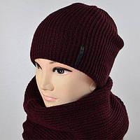 """Тёплый комплект """"600"""" шапка+баф полушерсть"""