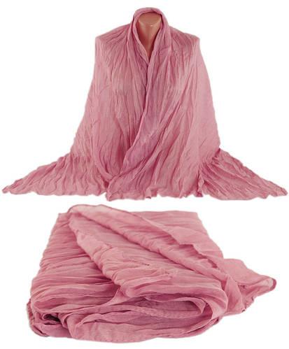 Однотонная легкая жатая шаль-парео, хлопок, 150х80 см, Traum 2498-19, цвет розовый.