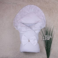 """Зимний конверт-одеяло на выписку """"Волшебство"""", белый"""