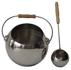 """Набор """"Глобус"""" полированная нержавеющая сталь (шайка 4 л + черпак 40 см) для бани и сауны"""