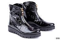 Женские ботинки лаковые короткие 890