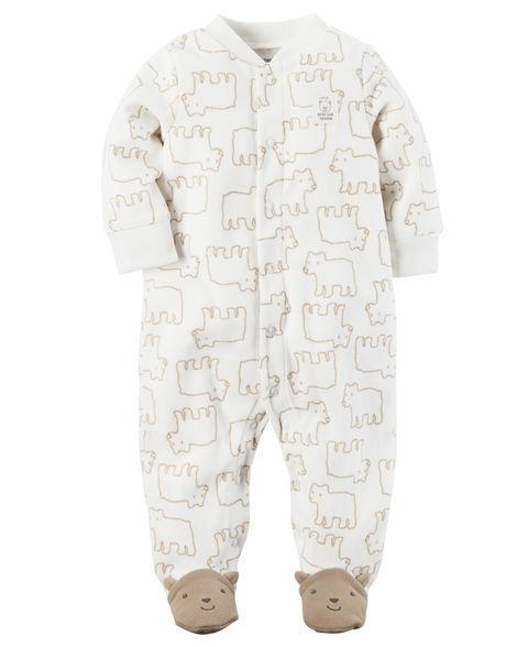 Человечек-слипфлисовый Картерс на мальчика 0-3-6-9 мес. Медвежонок Carter's (США)