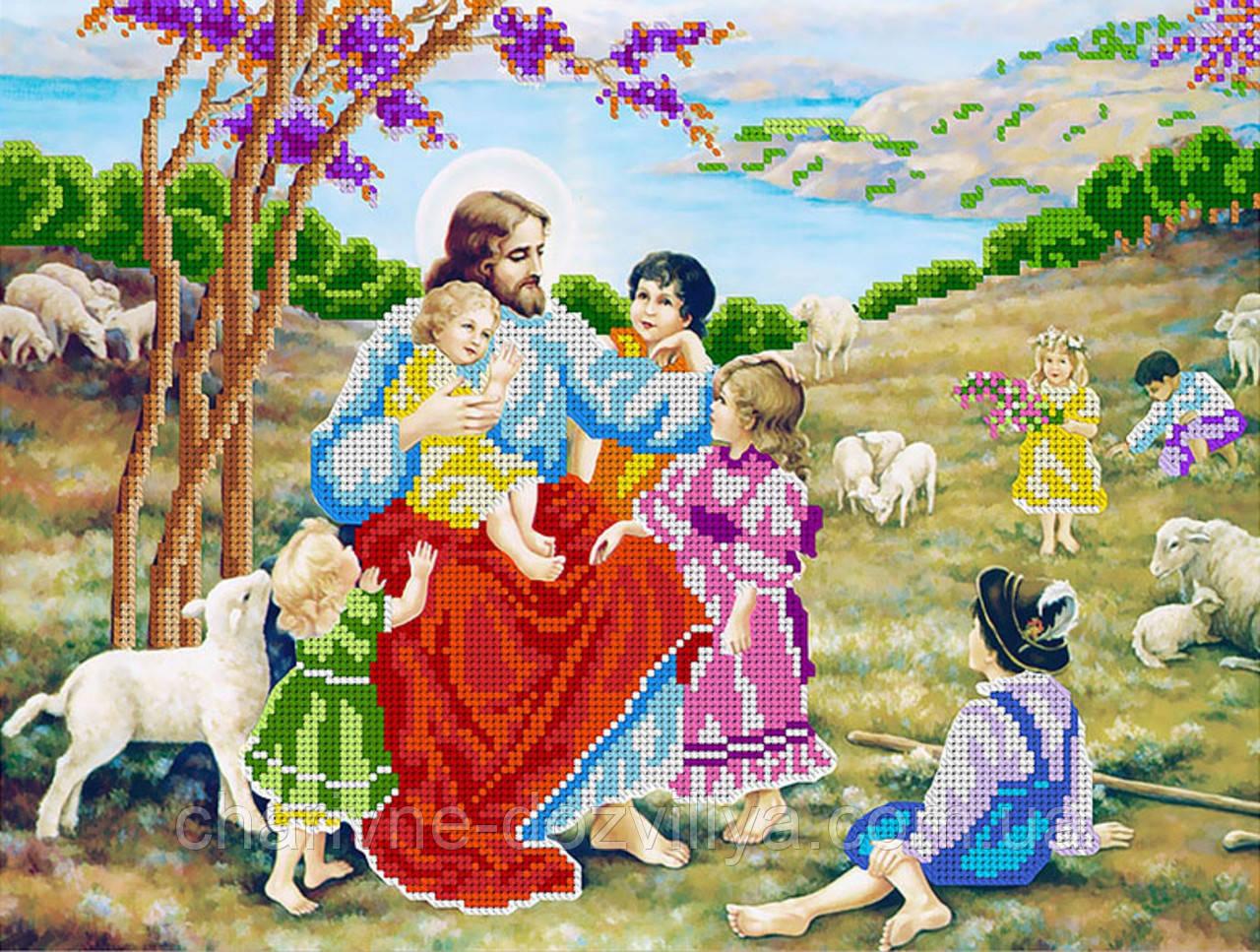 """Схема для вышивки бисером икона """"Иисус Христос и дети"""""""