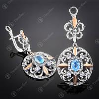 Серебряные серьги с золотом и Голубым Топазом Царская роскошь