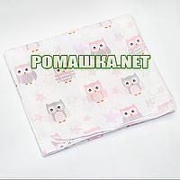 Белая детская фланелевая пелёнка 120х75 см (фланель, байковая, байка) теплая для пеленания 3307 Розовый