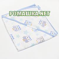 Детское байковое (фланелевое) уголок-полотенце после купания новорожденного 95х95 см 100% хлопок 2968 Голубой4