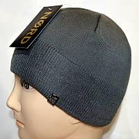 Мужская вязанная шапка 15046 серый