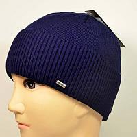 Мужская вязанная шапка на флисе Nord с отворотом