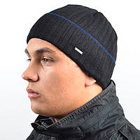 Мужская вязанная шапка NORD Черный + полоска