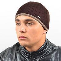 Мужская вязанная шапка NORD коричневый + полоска