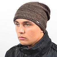 Мужская удиненая шапка NORD коричневый меланж