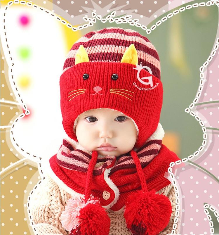 Шапочка зимняя теплая детская и шарф  для девочки