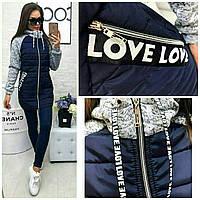 Женское тёплое осеннее демисезонное длинное пальто куртка Love серое меланж синее 42 44 46 48