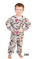 Детская флисовая пижама серая модель W 358