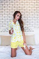 Красивая женская пижама с шортами и рубашкой в принт d-720001