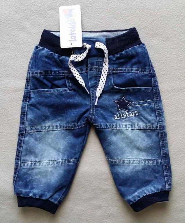 Теплые детские джинсы на махре для мальчиков 6-18 мес Турция оптом