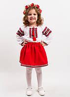 """Вышитый костюм для девочки  """"Червона казка""""  размера 92, 98, 104, 110 нарядный для садика в украинском стиле"""