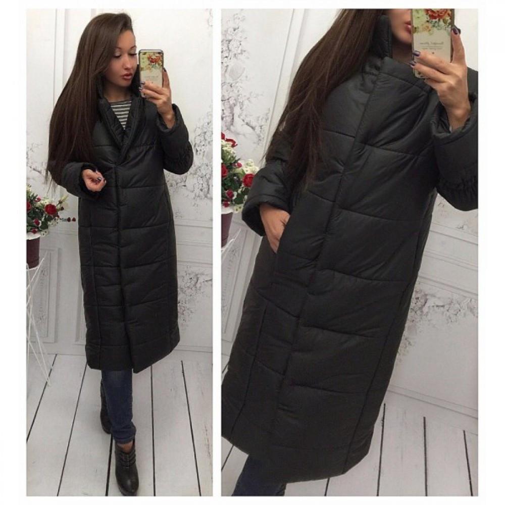 46dc0f4c991d0 Куртка пуховик женский Лямбда длинная черная - Интернет-магазин товаров для  всей семьи