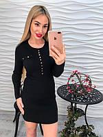 Женское платье  черное с пуговицами
