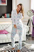 Женская пижама из хлопка со штанами и рубашкой в принт r-720002