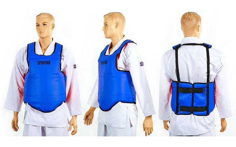 Защита корпуса (жилет) для единоборств SPORTKO SP-4708 (кожвинил, р-р L, синий, красный)