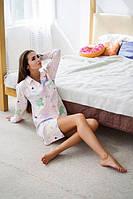 Женская ночная рубашка из хлопка с принтом h-720003