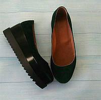 Женские туфли Allure на платформе замша натуральная черные 0106АЛМ