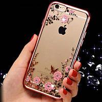 """Прозрачный силиконовый чехол с цветами и стразами для Apple iPhone 7 (4.7"""") (Розовый)"""