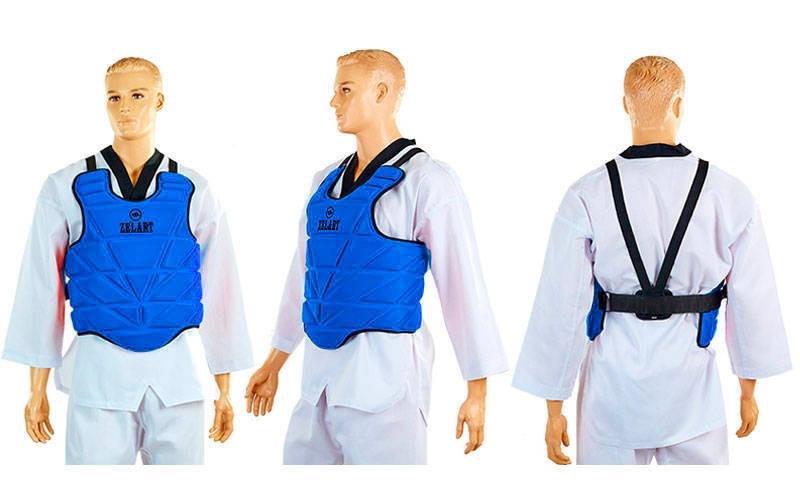 Защита корпуса (жилет) для каратэ детская EVERLAST BO-3951 (PU, р-р XXS-L, красный, синий)