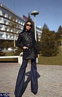 Черное стеганное пальто большого размера. Арт-10123