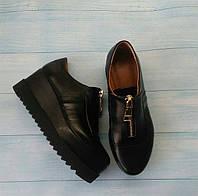 Женские туфли Allure на платформе кожа натуральная черные 0107АЛМ