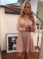 Платье женское короткое из шелка на пуговицах P7538