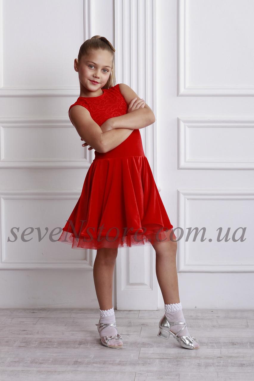 Рейтинговое платье Бейсик для бальных танцев Sevenstore 9110 Красное