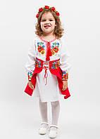 """Вышитый костюм для девочки """"Український букет"""" размера 92, 98, 104,110 нарядный для садика в украинском стиле"""