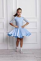 Рейтинговое платье Бейсик для бальных танцев Sevenstore 9109 Нежно голубое