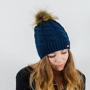 Женская шапка с помпоном  (Синий)