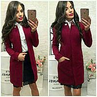 Женское кашемировое демисезонное длинное пальто на молнии бордовое марсала 42 44 46 48