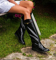 Сапоги кожаные лаковые черные Y.S.