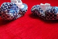 Пинетки детские, махровые пестрые с синим